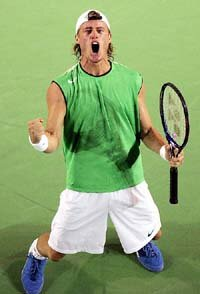 Australia's Lleyton Hewitt celebrates during his semi-final win over Andy Roddick of the U.S. at the 2005 Australian Open in Melbourne